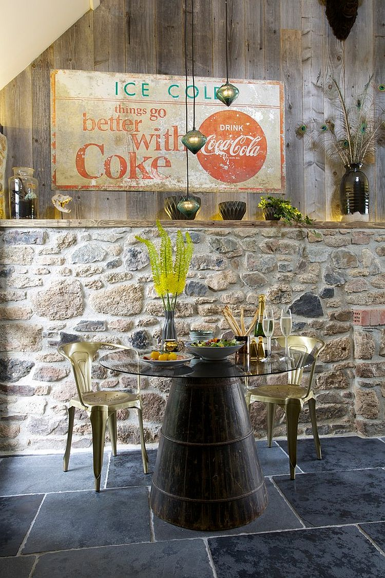 Fabulous-eclectic-dining-room-with-distressed-wood-and-stone-wall