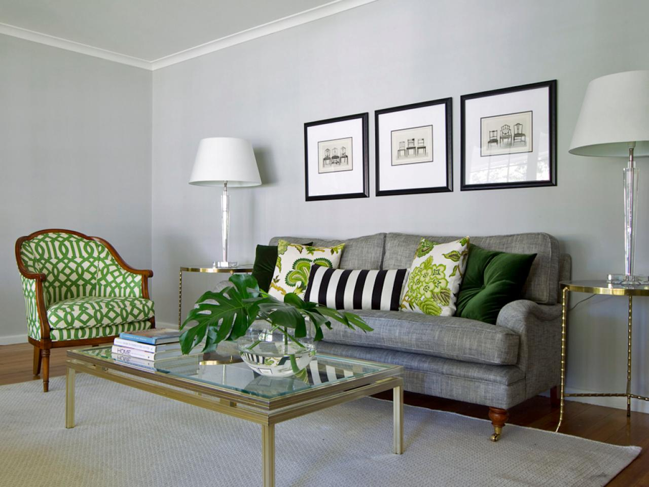 Green And Gray Living Rooms