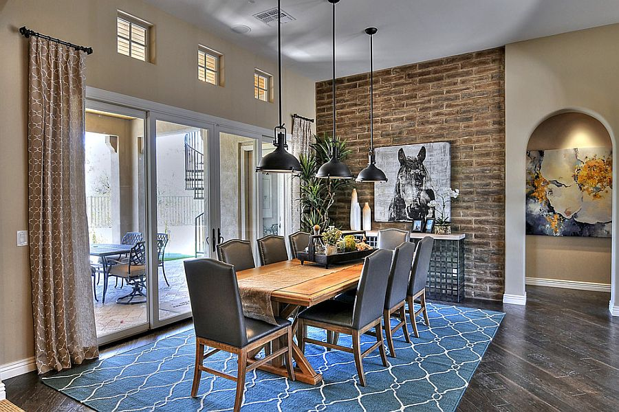 Industrial-style-dining-room-with-a-hint-of-blue
