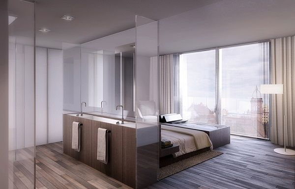 Modern Bedroom With Open Bathrooms