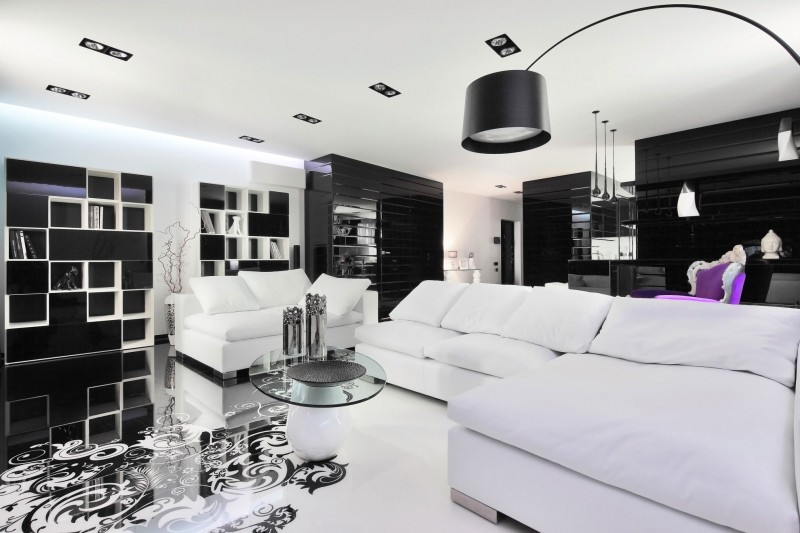 Amazing-black-and-white-living-room-with-lone-purple-chair-in-the-backdrop