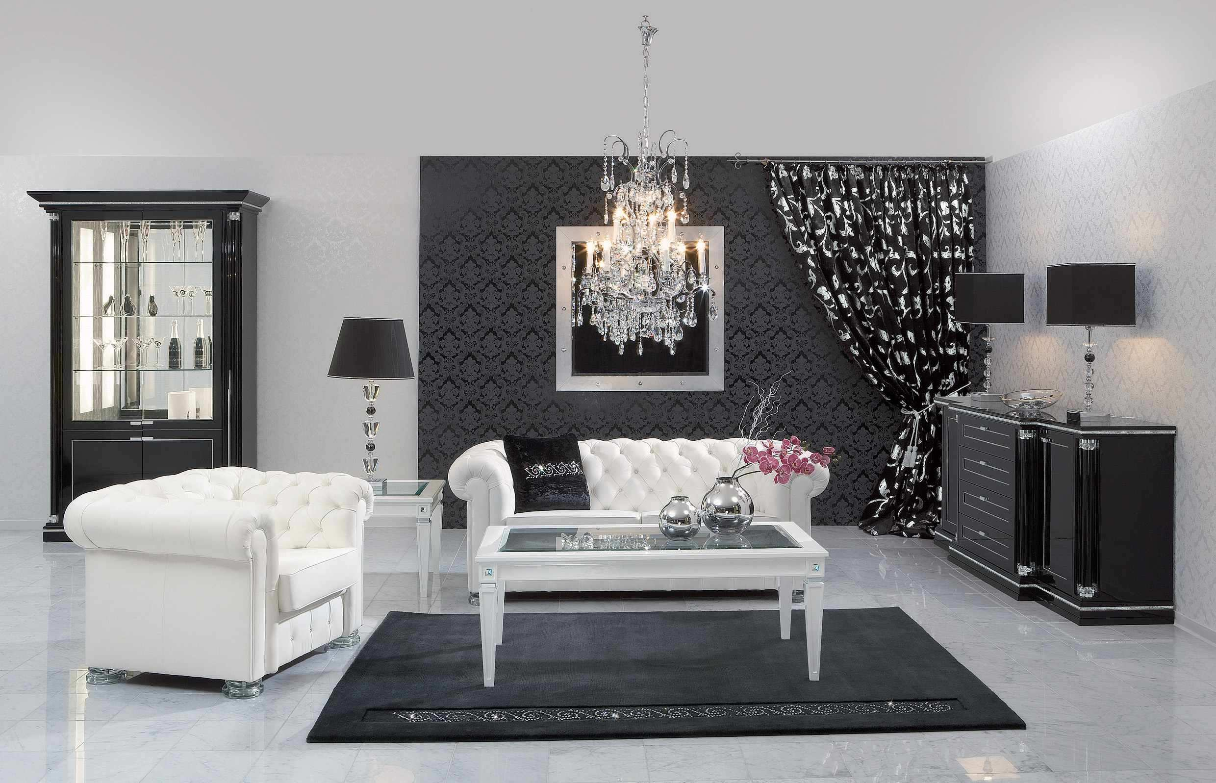 Lovely black and white living room designs