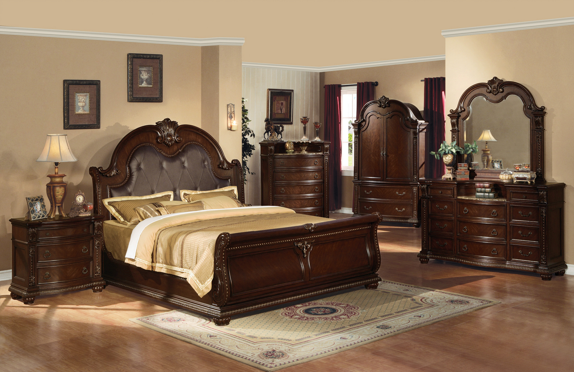beautiful-dark-brown-wood-glass-luxury-design-bedroom