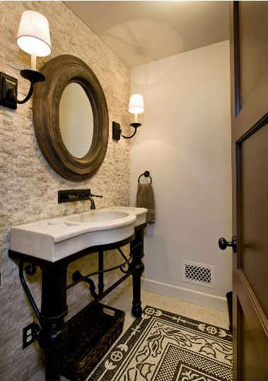 powder-room-with-limestone-wall