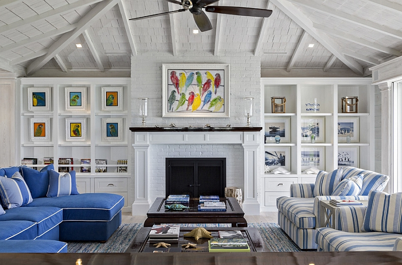 Beach-style-living-room-with-multi-colored-wall-art