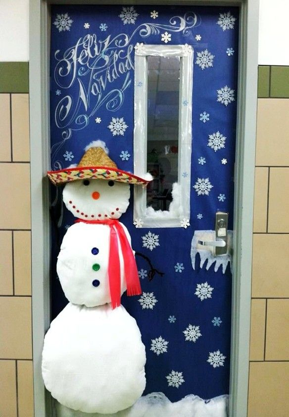 25 marvelous classroom decoration for christmas interior Class door winter decorations